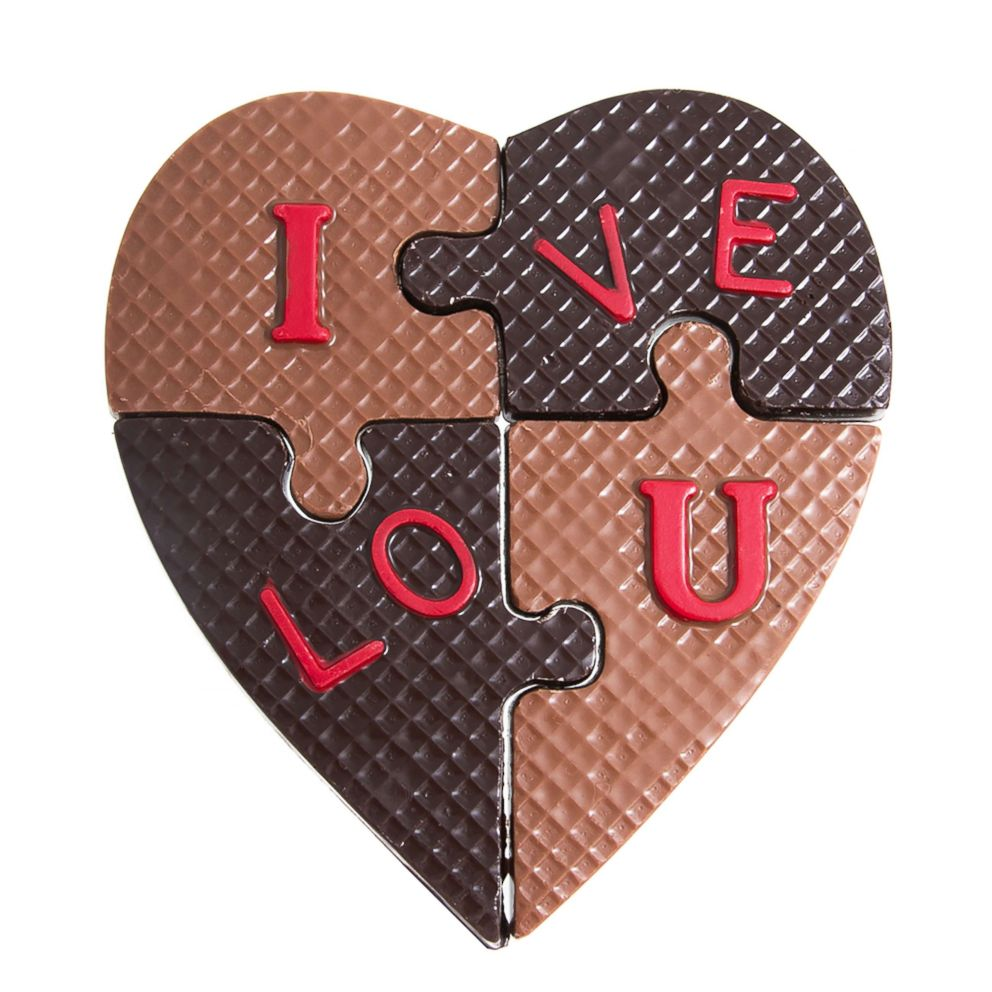 PHOTO: Jacques Torres custom hand-made chocolate I Love U Puzzle is available in milk and dark chocolate.