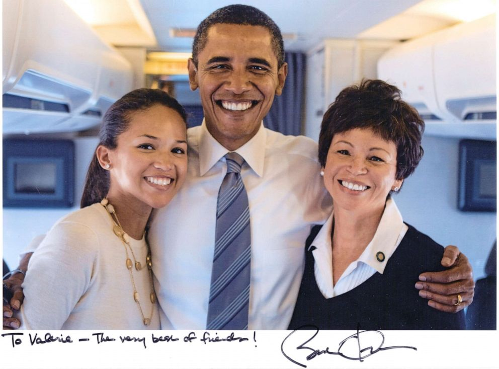 PHOTO: Valerie Jarrett and her daughter Laura Jarrett with President Obama on election day in 2008.