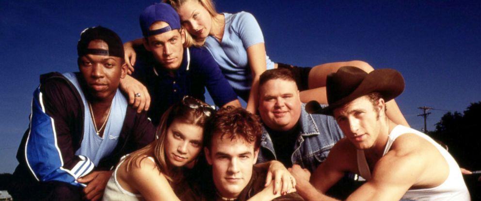 "PHOTO: The cast of ""Varsity Blues,"" James Van Der Beek, Amy Smart, Eliel Swinton, Pail Walker, Ali Larter, Ron Lester and Scott Caan, 1998."