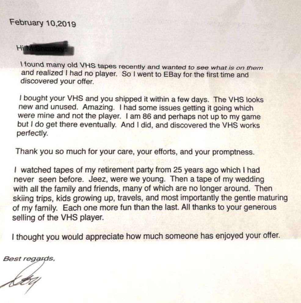 PHOTO: Matt Shoukry received this letter in the mail after selling his VCR on eBay.