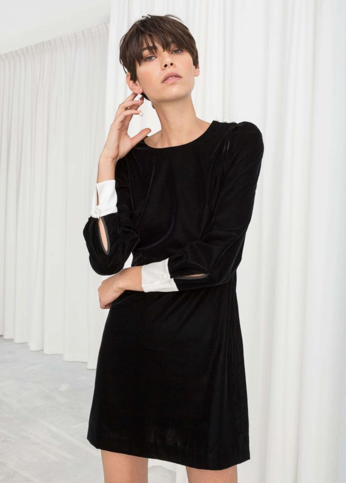 PHOTO: & Other Stories, Velvet Pearl Button Mini Dress