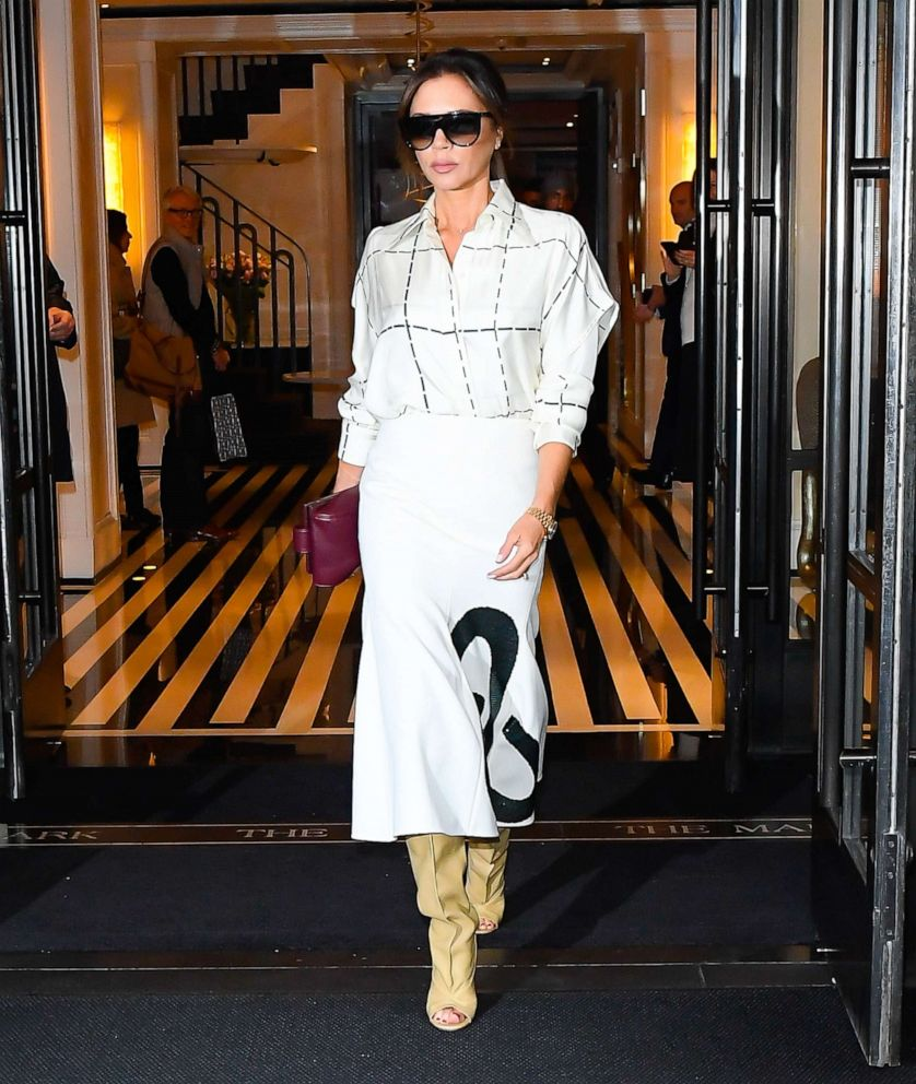PHOTO: Victoria Beckham is seen coming out of The Mark Hotel on October 18, 2019, in New York.