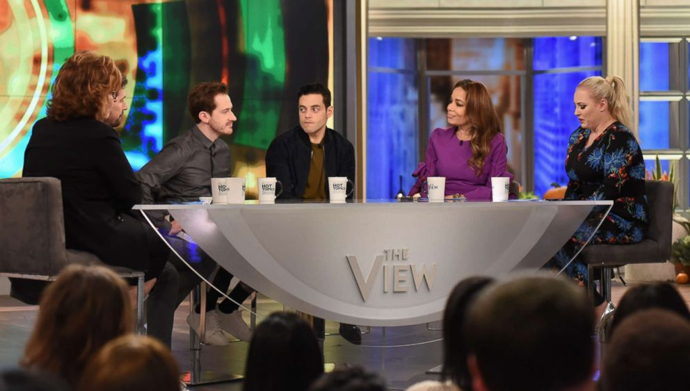 """Joe Mazzello was joined by his """"Bohemian Rhapsody"""" co-stars Gwilym Lee and Rami Malek on """"The View"""" Friday, Nov. 2, 2018."""