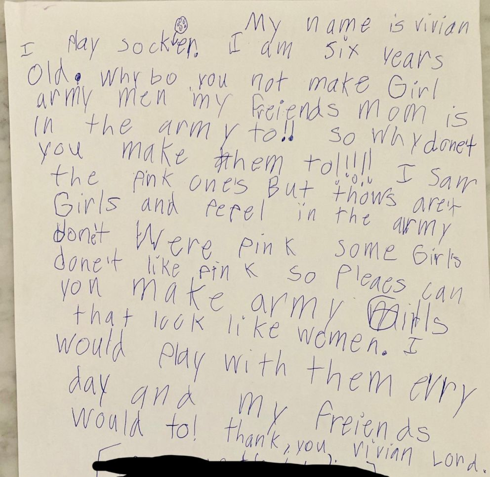 PHOTO: The letter Vivian Lord wrote to BMC Toys is pictured here.