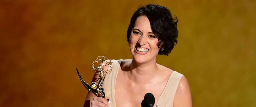 PHOTO: Phoebe Waller-Bridge accepts the award onstage for Outstanding Writing For A Comedy Series during the 71st Emmy Awards at the Microsoft Theatre in Los Angeles on September 22, 2019.