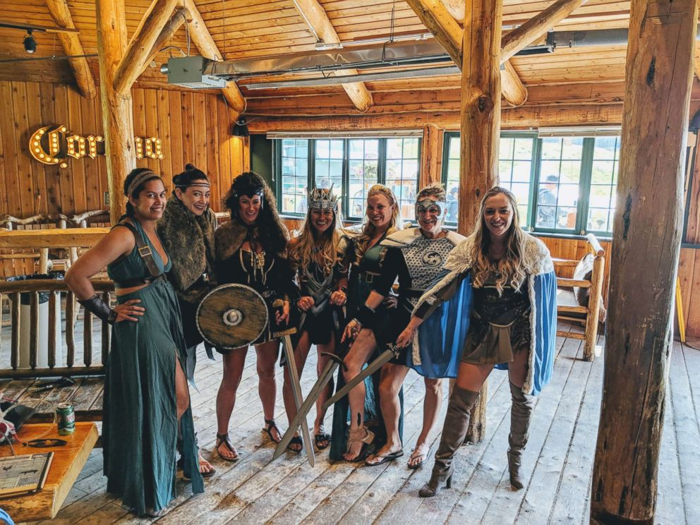 PHOTO: A bride-to-be and her bridesmaids crafted their own costumes for a Warrior Women themed bachelorette party.