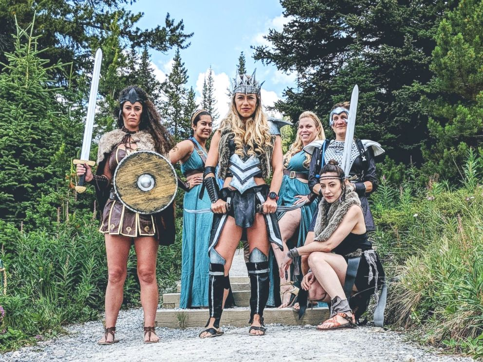 PHOTO: This bride-to-be and her friends had a Warrior Women themed Bachelorette party.