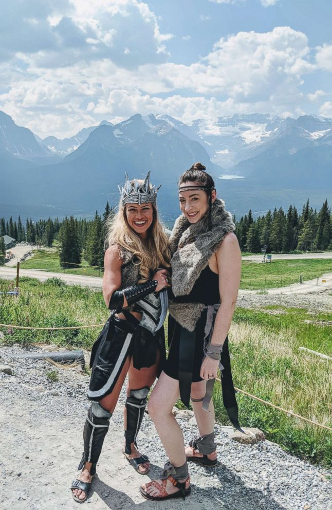 PHOTO: These women made warrior costumes for their friends bachelorette party in Banff, Canada.
