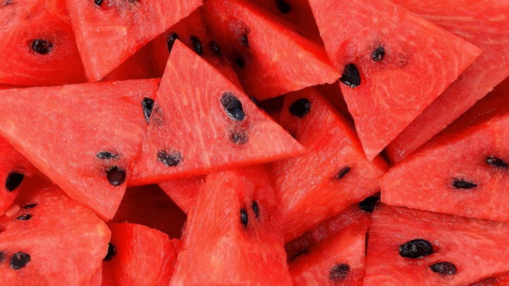 Slices of watermelon are seen here in this stock photo.