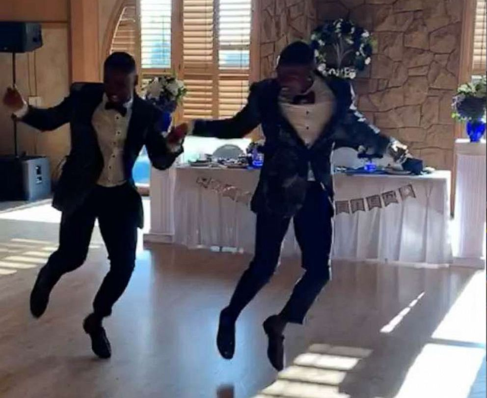 PHOTO: Taylor and Isaiah stunned the crowd with a high energy dance routine at their wedding.
