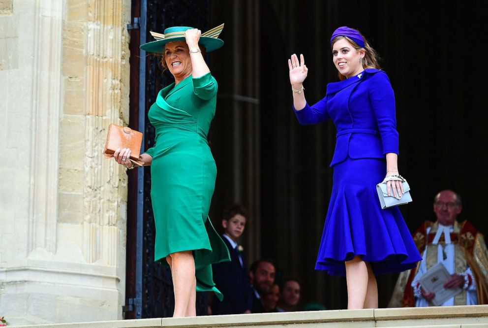 PHOTO: Sarah, Duchess of York and Britains Princess Beatrice of York arrive to attend the wedding of Britains Princess Eugenie of York to Jack Brooksbank at St Georges Chapel, Windsor Castle, in Windsor, Oct. 12, 2018.