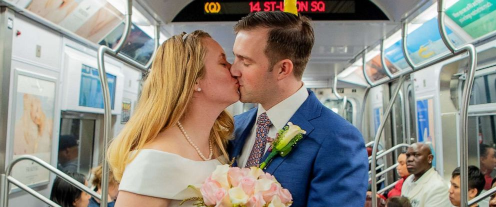 PHOTO: Robert Musso and Frances Denmark exchanged vows on the New York City subway.