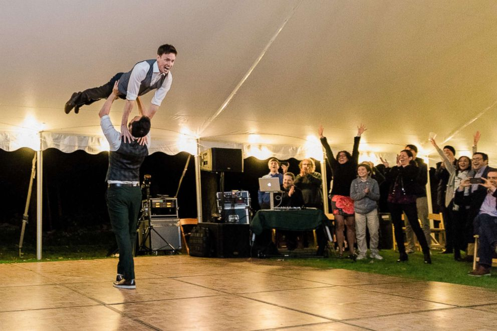 PHOTO: Noah Aberlin and PJ Simmons nailed the Dirty Dancing lift at their Oct. 7, 2018, wedding in Coxsackie, N.Y.