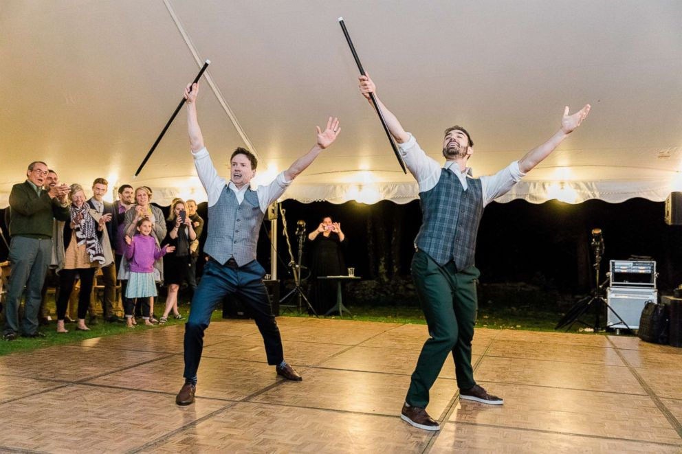 PHOTO: Noah Aberlin and PJ Simmons surprised their guests with an epic dance at their Oct. 7 wedding in Coxsackie, N.Y.