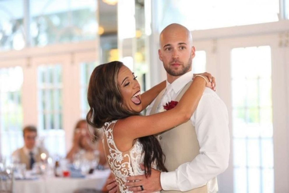 PHOTO: A wedding crasher interrupted this bride and grooms wedding.