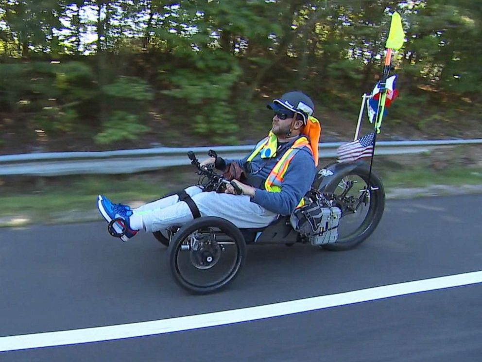 PHOTO: Janne Kouri, who was paralyzed in 2006, completed a 3,100-mile ride across the country, from California to Washington, D.C.
