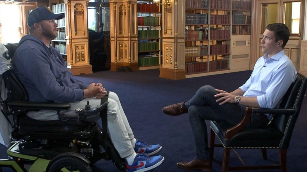 PHOTO: Janna Kouri talks with ABC News correspondent Will Reeve, whose own father, the late Christopher Reeve, was paralyzed in a horse riding accident.