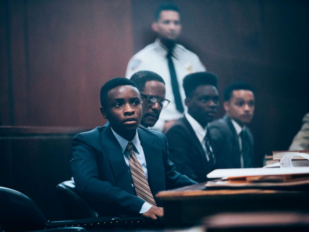 PHOTO: Caleel Harris, as Young Antron McCray, Blair Underwood, as Bobby Burns, Ethan Herisse, as Young Yusef Salaam, and Marquis Rodriguez, as Young Raymond Santana, in a scene from When They See Us.