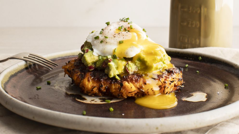 Sweet potato cakes with spicy avocado and poached eggs by Thumbtack chef Niko Paranomos.