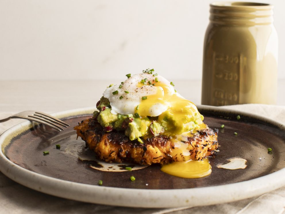 PHOTO: Sweet potato cakes with spicy avocado and poached eggs by Thumbtack chef Niko Paranomos.