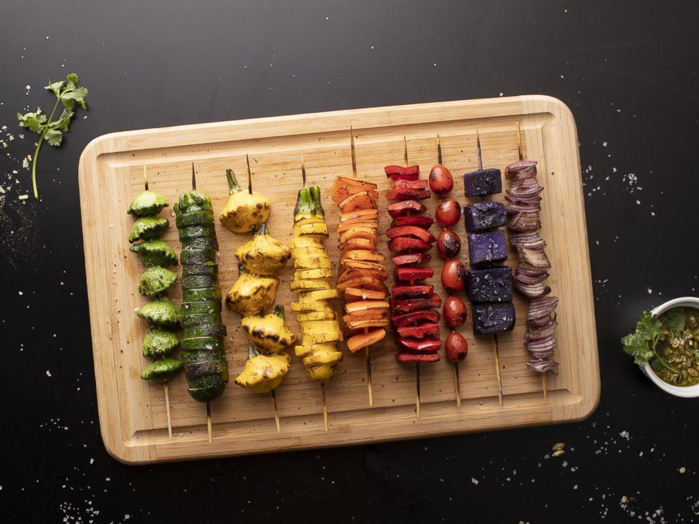 PHOTO: Rainbow veggie skewers by Thumbtack chef Niko Paranomos.