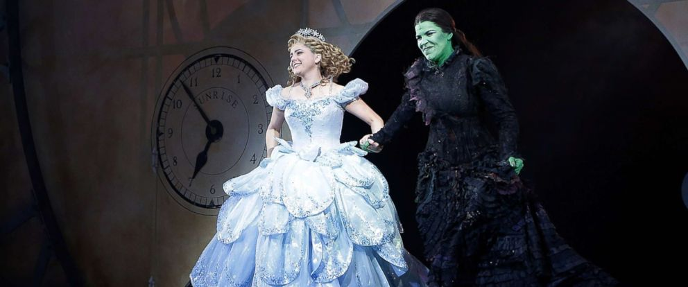 """PHOTO: Alli Mauzey and Lindsay Mendez attend the curtain call at """"Wicked"""" Celebrates 10th Anniversary On Broadway at Gershwin Theatre, Oct. 30, 2013, in New York."""