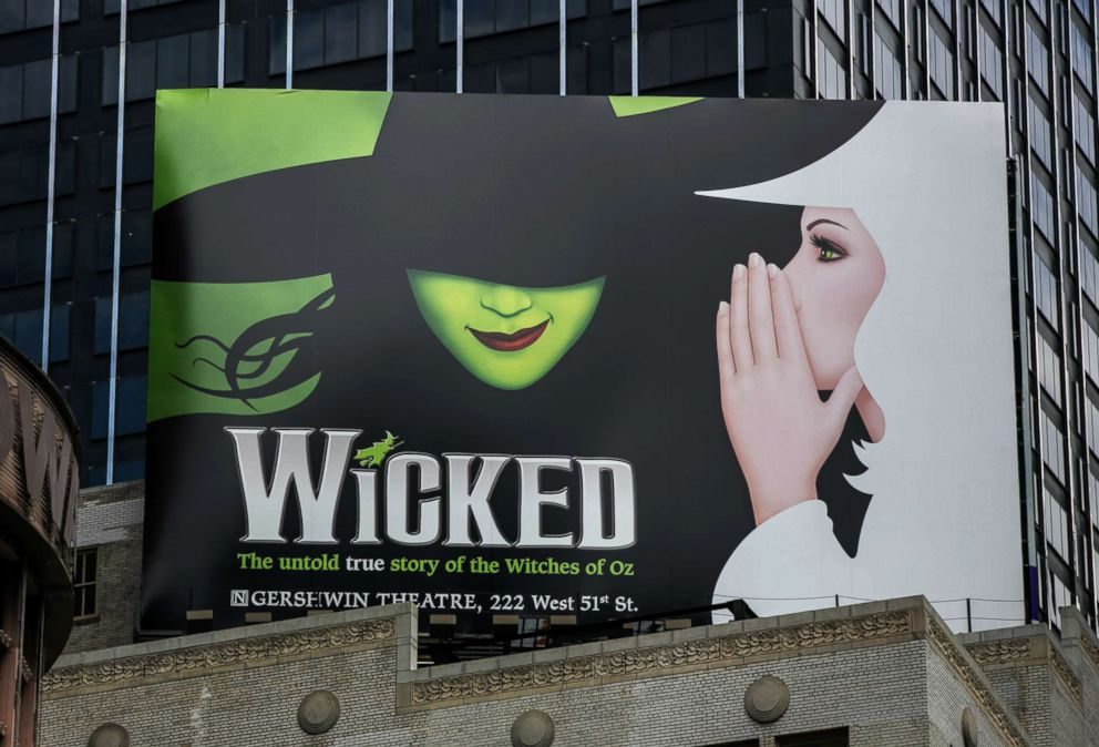 """A billboard promoting the Broadway play """"Wicked"""" is viewed in Times Square, June 10, 2017, in New York."""