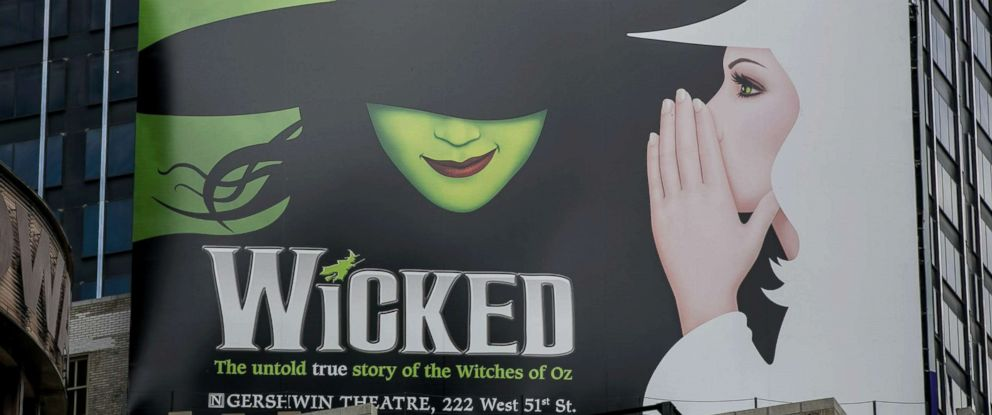 "PHOTO: A billboard promotes the Broadway play ""Wicked"" is viewed in Times Square in this June 10, 2017 file in N.Y."