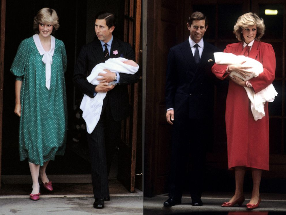 PHOTO: The Prince and Princess of Wales leave the Lindo Wing of St. Marys hospital with their newborn son, William, left, and Harry, right, in Paddington, London.