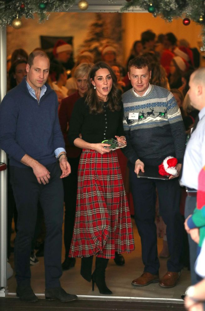 The Duke and Duchess of Cambridge leaving Kensington Palace, London, after they hosted a Christmas party for families and children of deployed personnel, Dec. 4, 2018.