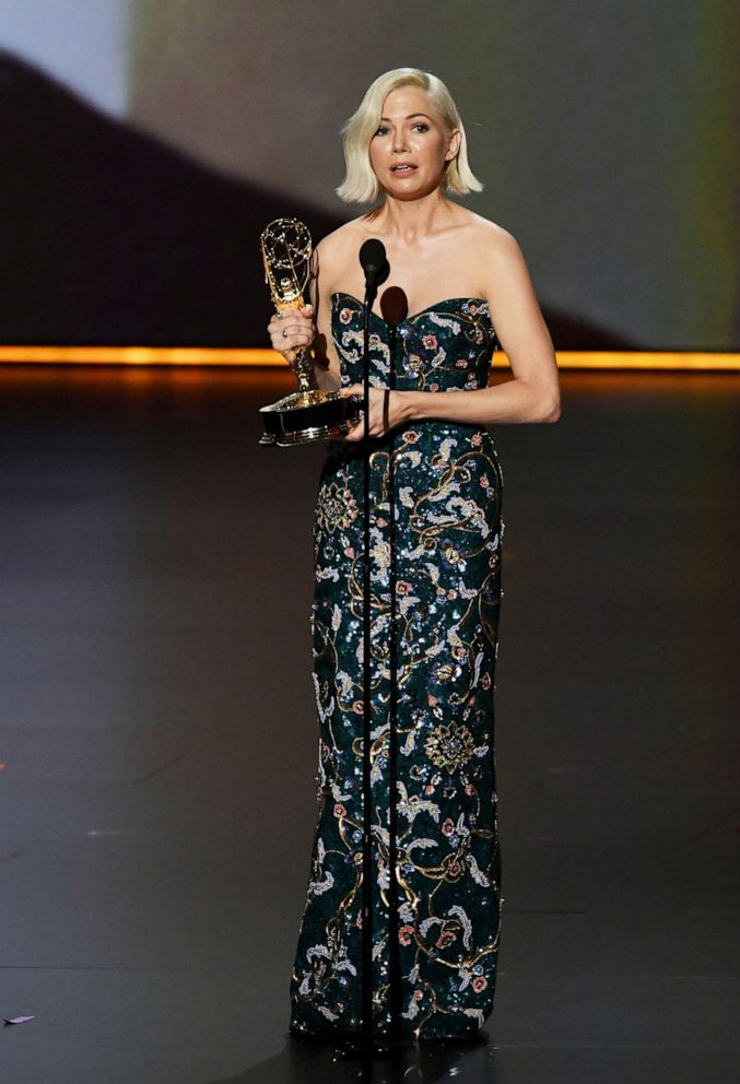 PHOTO: Michelle Williams accepts the Outstanding Lead Actress in a Limited Series or Movie award for Fosse/Verdon onstage during the 71st Emmy Awards at Microsoft Theater on September 22, 2019 in Los Angeles, California.