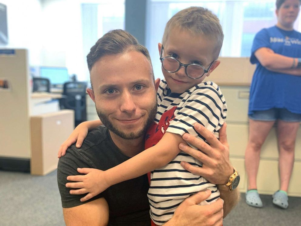 PHOTO: Gabriel Smith, 7, poses with his bone marrow donor Dennis Gutt, a 25-year-old carpenter from Germany.