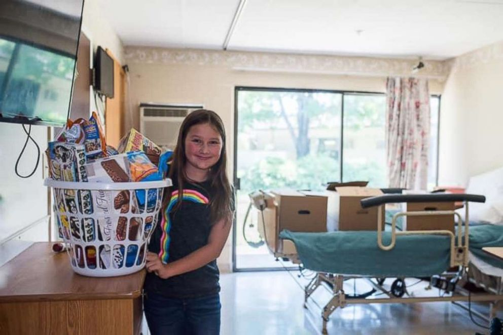 Ruby Kate Chitsey, 11, grants small wishes of nursing home residents like buying them snacks and arranging so their pets can visit them at the facility which they live at.