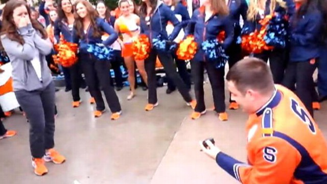 VIDEO: Ryan Giarrusso asked Katie Lappin to marry him before a Syracuse University football game.