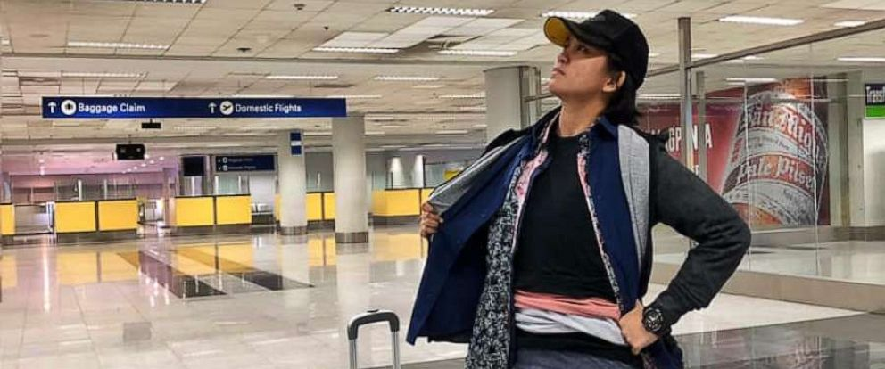 PHOTO: Gel Rodriguez of the Philippines is getting love on Facebook after posting her hilarious method for skipping an excess baggage fee at the airport.