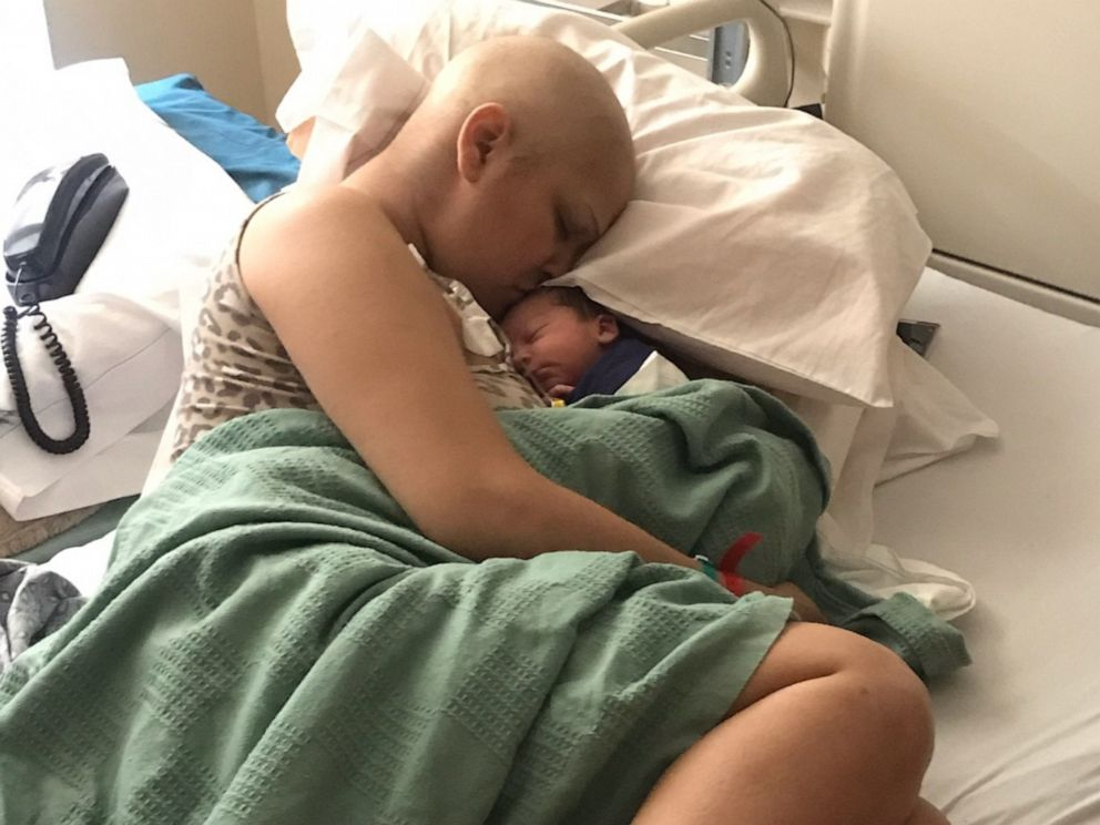 PHOTO: Jade Devis of Rancho Cucamonga, California, welcomed a son, Bradley, after two months of chemotherapy to fight Stage 2 triple negative breast cancer--one of the rarest forms of breast cancer.
