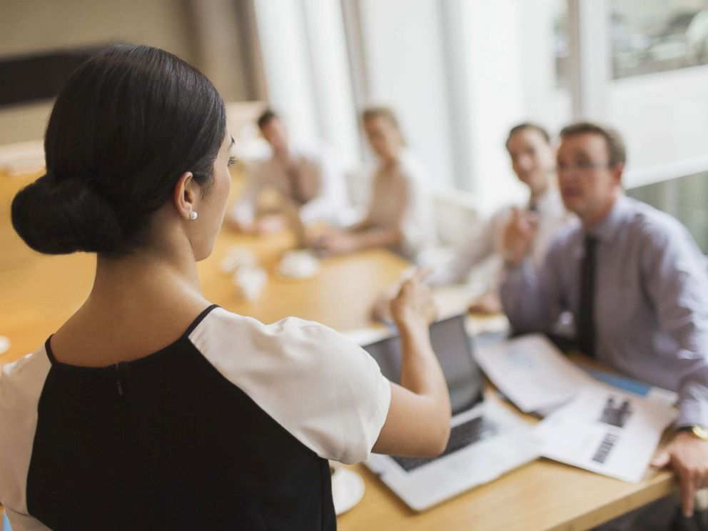 PHOTO: In this undated stock photo, a woman leads a meeting in a conference.