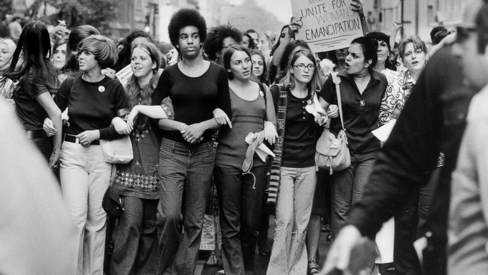 Women march down Fifth Avenue in New York during a Women's Equality March on Aug. 26, 1970, organized by the National Organization for Women to commemorate the 50th anniversary of the passing of the Nineteenth Amendment which granted American women full suffrage.