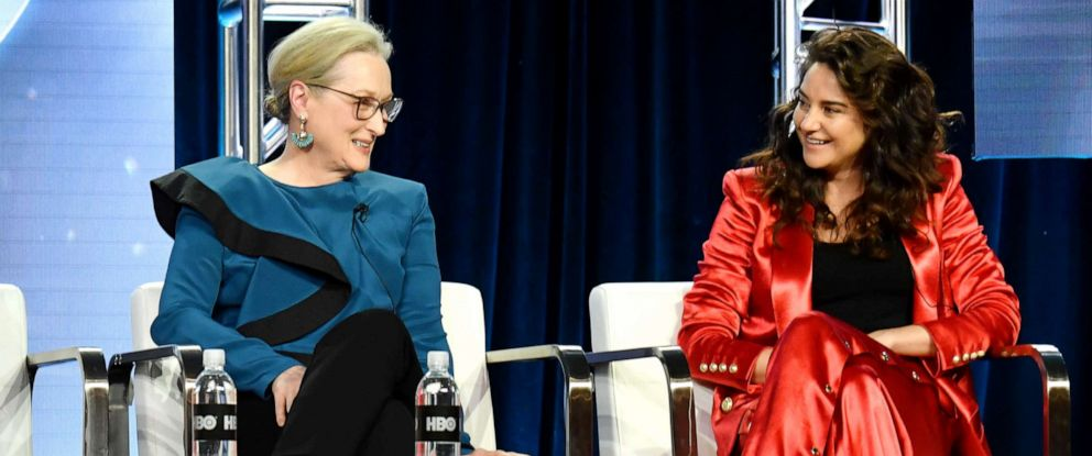 "PHOTO: Meryl Streep and Shailene Woodley speak during the ""Big Little Lies"" on Feb. 8, 2019, in Pasadena, Calif."