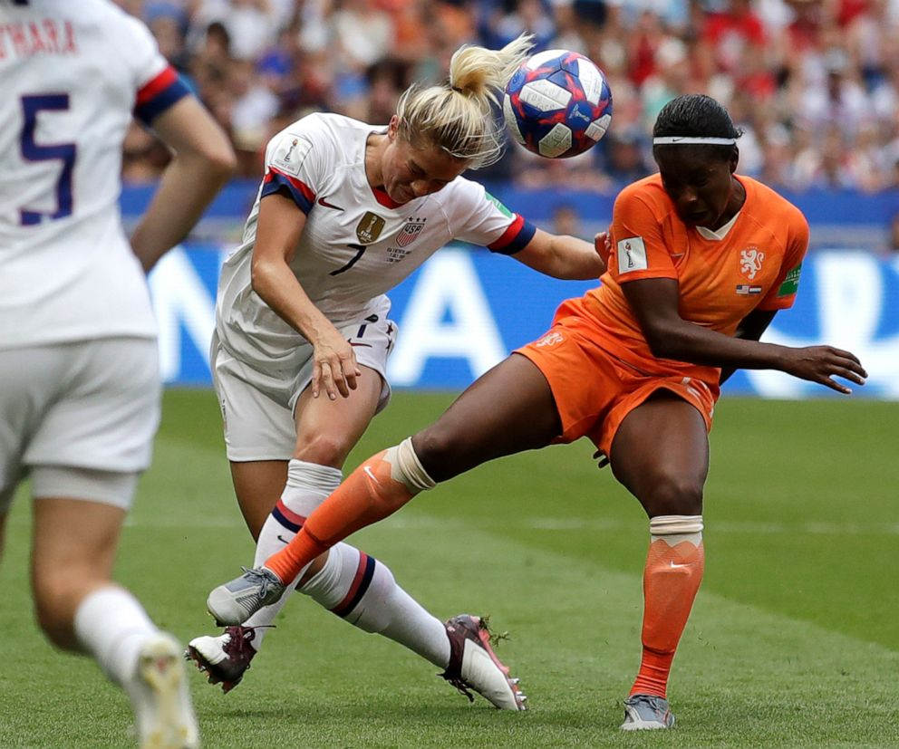 PHOTO: United States Abby Dahlkemper, left, challenges Netherlands Lineth Beerensteyn, right, during the Womens World Cup final soccer match between US and The Netherlands at the Stade de Lyon in Decines, France, July 7, 2019.