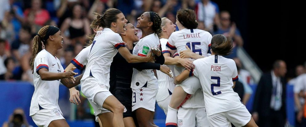 PHOTO: United States soccer team celebrates after the team won the Womens World Cup final soccer match between US and The Netherlands at the Stade de Lyon in Decines, France, July 7, 2019.