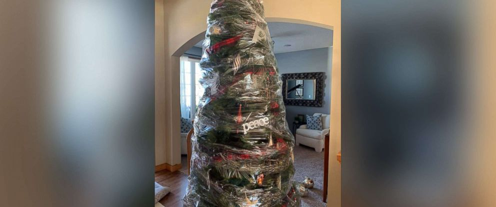 "PHOTO: Renae Krivitz shared photos of her plastic-wrapped Christmas tree on Facebook with the text, ""My new time saving Christmas tree invention. No more decorating/un-decorating. Wrap it and store it!"""