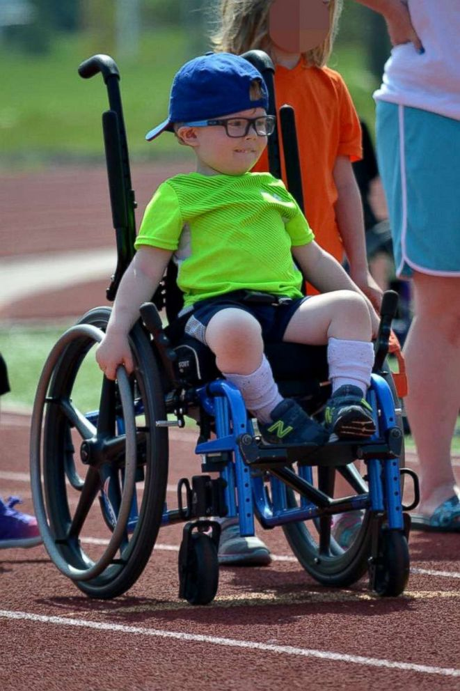 PHOTO: Wyatt Burggraff, 4, whose video of jumping on his trampoline in a wheelchair has gone viral, participates in many activities in his community.