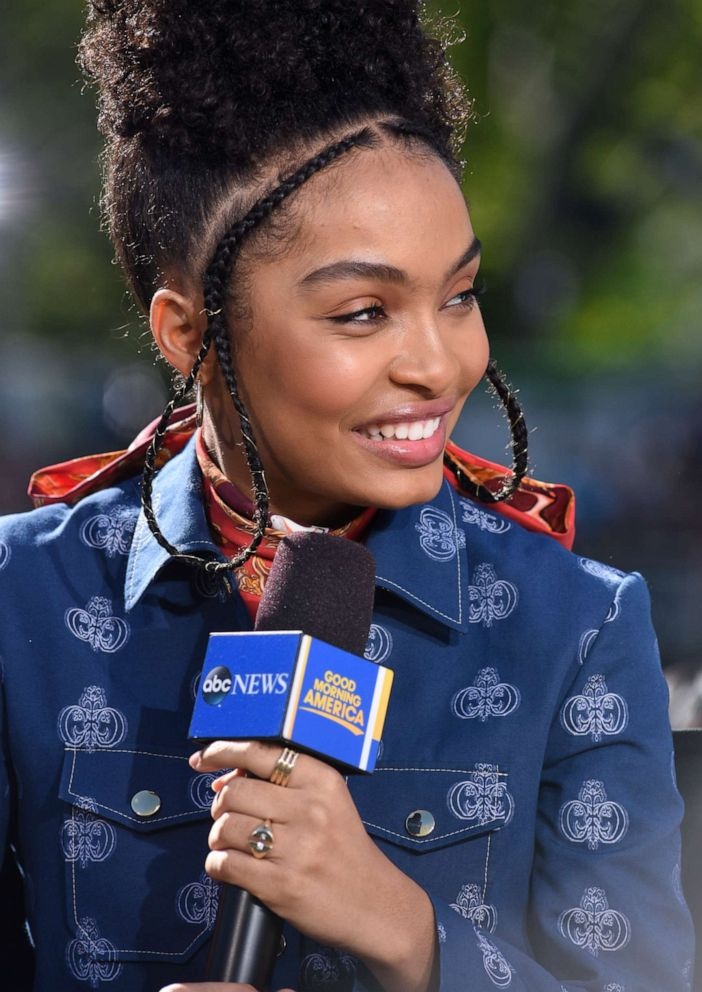PHOTO: Yara Shahidi talks her new film The Sun Is Also a Star during an appearance on Good Morning America.