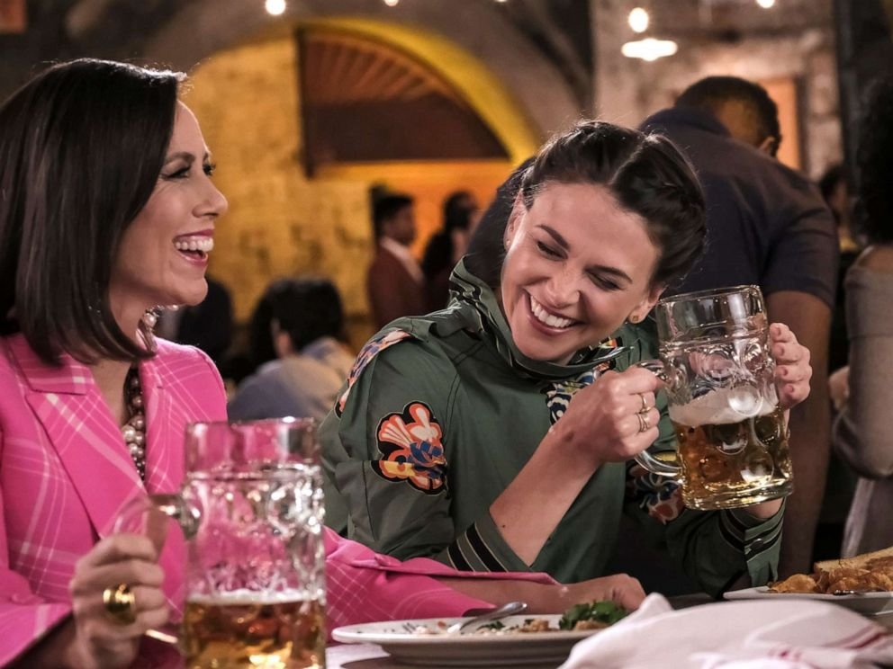 PHOTO: Sutton Foster, right, as Liza Miller in an episode of Younger, with Miriam Shor.