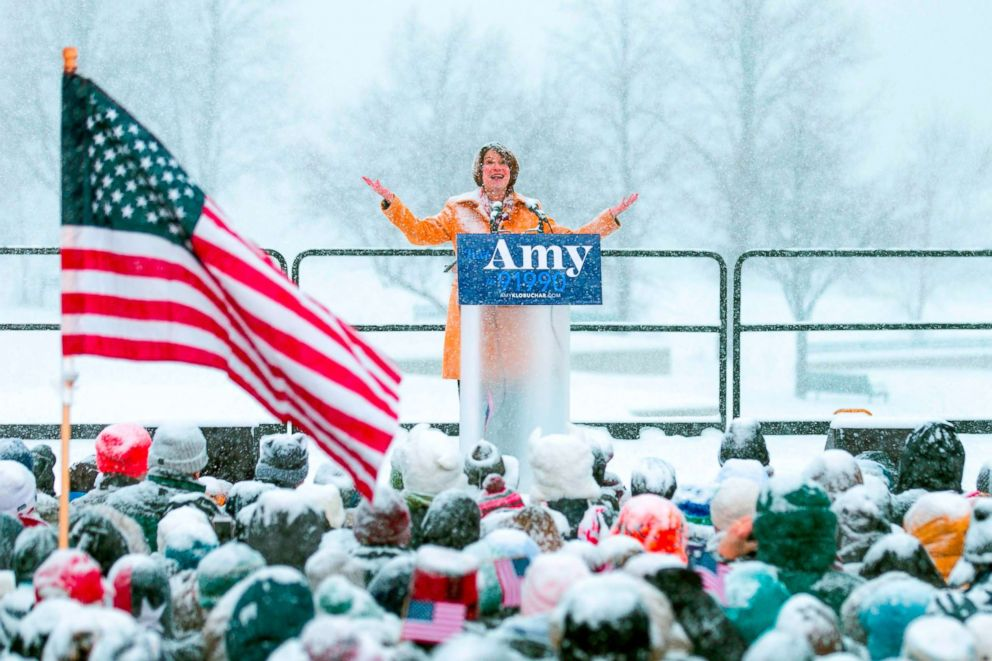 Senator Amy Klobuchar announces her candidacy for president during a snow fall, Feb. 10, 2019, in Minneapolis, Minnesota.