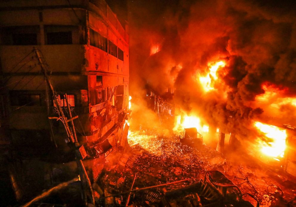 PHOTO: Flames rise from a fire in a densely packed shopping area in Dhaka, Bangladesh, Feb. 21, 2019.