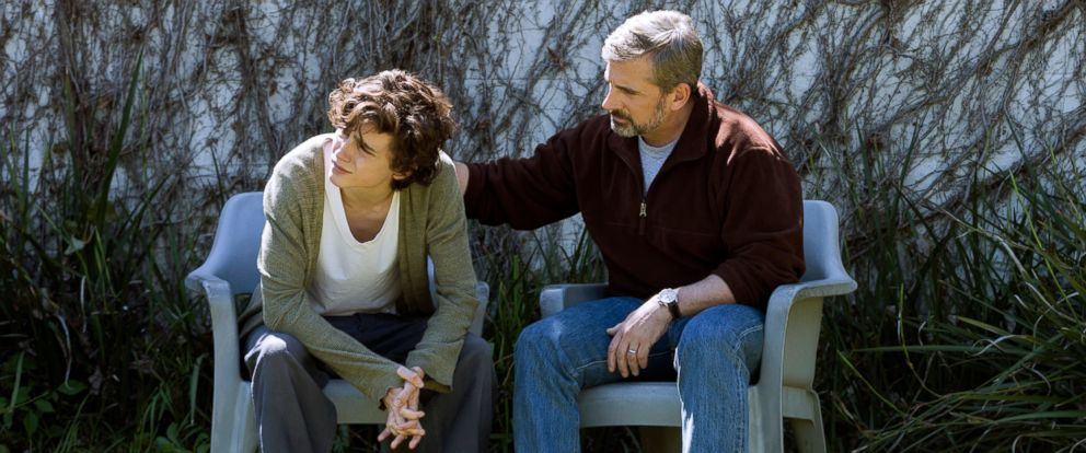 """PHOTO: Timothee Chalamet, left, and Steve Carell in a scene from """"Beautiful Boy."""""""
