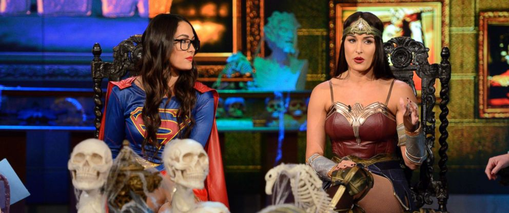 """PHOTO: Twin sisters and WWE stars Brie Bella and Nikki Bella joined """"The View"""" on Halloween."""