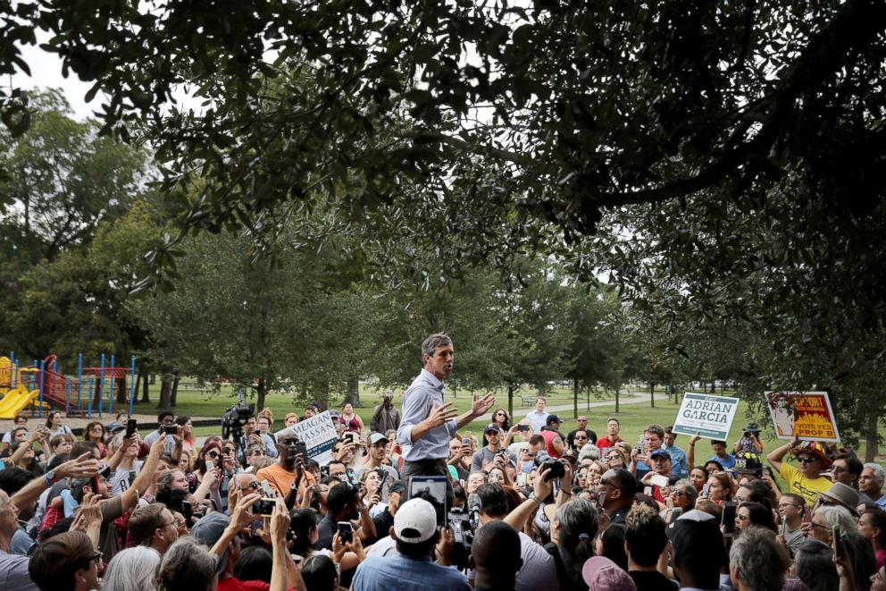 PHOTO: Senate candidate Rep. Beto ORourke is surrounded by supporters as he gives a speech during a campaign stop at Moody Park, Oct. 30, 2018, in Houston, Texas.